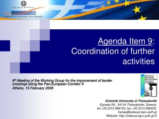 Agenda Item 9 :  Coordination of further activities