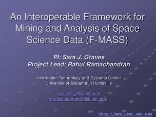An Interoperable Framework for Mining and Analysis of Space Science Data (F-MASS)