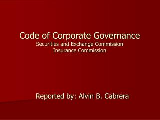 Code of Corporate Governance Securities and Exchange Commission Insurance Commission