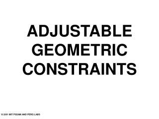 ADJUSTABLE GEOMETRIC CONSTRAINTS