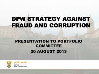 DPW STRATEGY AGAINST FRAUD AND CORRUPTION