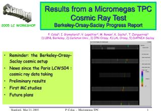 Results from a Micromegas TPC Cosmic Ray Test Berkeley-Orsay-Saclay Progress Report