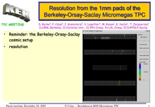Resolution from the 1mm pads of the Berkeley-Orsay-Saclay Micromegas TPC