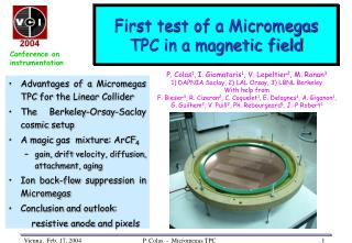 First test of a Micromegas TPC in a magnetic field