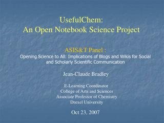UsefulChem: An Open Notebook Science Project