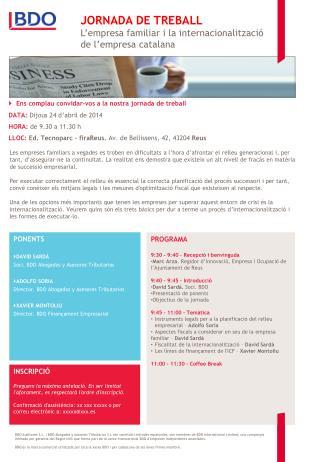 JORNADA DE TREBALL L ' empresa familiar i la internacionalització de l ' empresa catalana