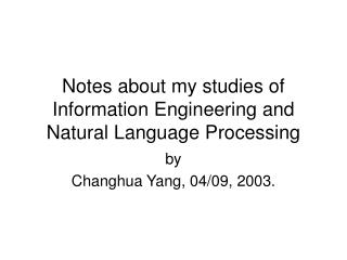Notes about my studies of Information Engineering and Natural Language Processing