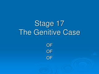 Stage 17 The Genitive Case