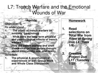 L7: Trench Warfare and the Emotional Wounds of War