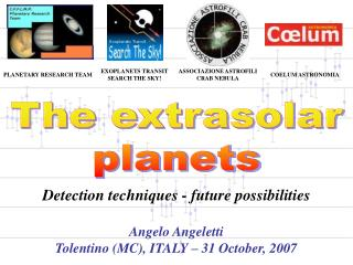 The extrasolar planets