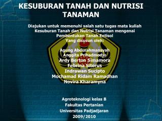 KESUBURAN TANAH DAN NUTRISI TANAMAN