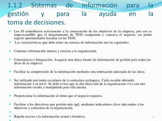 1.1.2 Sistemas de información para la gestión y para la ayuda en la toma de decisiones.
