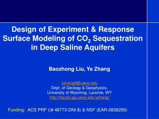 Design of Experiment & Response Surface Modeling of CO 2  Sequestration in Deep Saline Aquifers