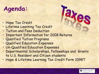 Hope Tax Credit Lifetime Learning Tax Credit Tuition and Fees Deduction