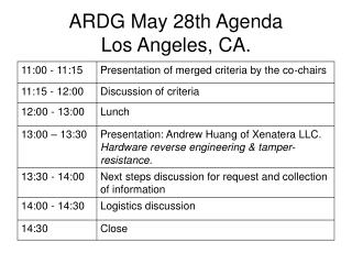 ARDG May 28th Agenda Los Angeles, CA.