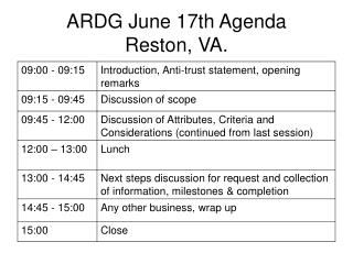 ARDG June 17th Agenda Reston, VA.