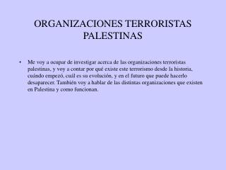 ORGANIZACIONES TERRORISTAS PALESTINAS