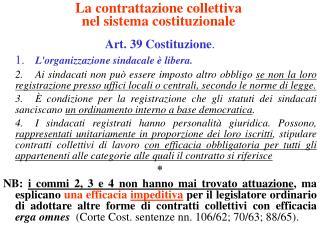 La contrattazione collettiva  nel sistema costituzionale