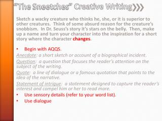 """The  Sneetches "" Creative Writing"