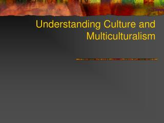 Understanding Culture and Multiculturalism