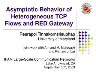 Asymptotic Behavior of Heterogeneous TCP Flows and RED Gateway