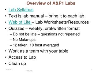 Overview of A&P1 Labs