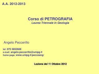 Corso di PETROGRAFIA Laurea Triennale in Geologia