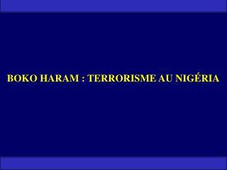 BOKO HARAM : TERRORISME AU NIGÉRIA