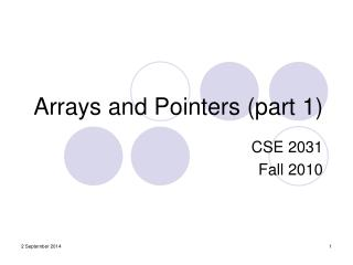 Arrays and Pointers (part 1)