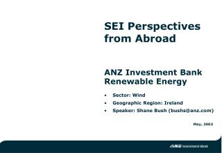 ANZ Investment Bank Renewable Energy