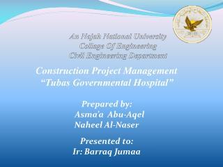 An Najah National University Collage Of Engineering Civil Engineering Department