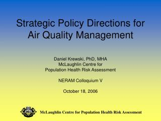 Strategic Policy Directions for Air Quality Management