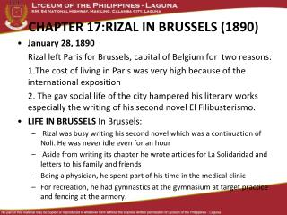 CHAPTER 17:RIZAL IN BRUSSELS (1890)