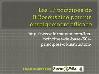 Les 17 principes de  B.Rosenshine  pour un enseignement efficace
