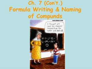 Ch. 7 (Con't.) Formula Writing & Naming of Compunds