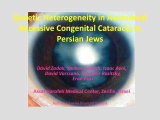 Genetic Heterogeneity in Autosomal Recessive Congenital Cataracts in Persian Jews