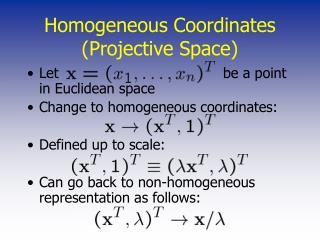 Homogeneous Coordinates (Projective Space)