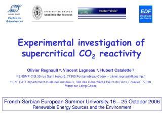 Experimental investigation of supercritical CO 2  reactivity
