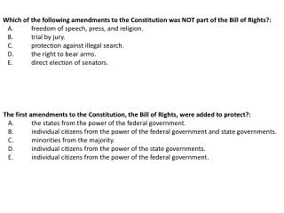 Which of the following amendments to the Constitution was NOT part of the Bill of Rights?: