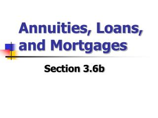 Annuities, Loans, and Mortgages