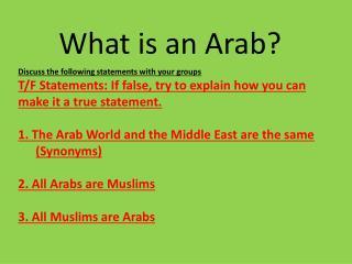 What is an Arab?