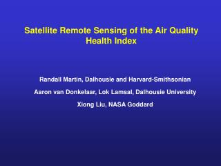 Satellite Remote Sensing of the Air Quality Health Index