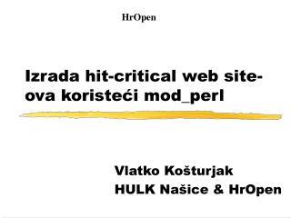 Izrada hit-critical web site-ova koristeći mod_perl