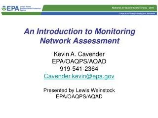 An Introduction to Monitoring Network Assessment
