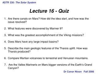 ASTR 330:  The Solar System