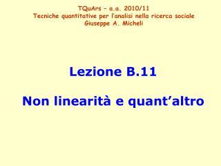Lezione B.11 Non linearità e quant'altro