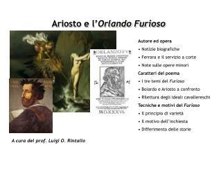 Ariosto e l' Orlando Furioso