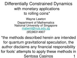 Differentially Constrained Dynamics