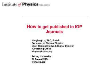 How  to get published in IOP Journals