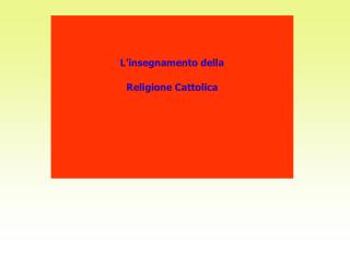 L�insegnamento della Religione Cattolica